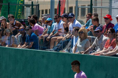 Audience waching the matches at Top Tennis facilities.